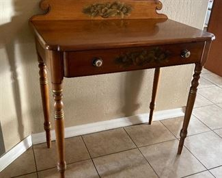 Hitchcock Classic Stenciled Maple 1 drawer Desk33.5x32.5x17.5inHxWxD