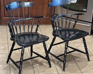 2pc Nichols & Stone Chairs Black Windsor Stenciled Chairs PAIR32x21x17inHxWxD
