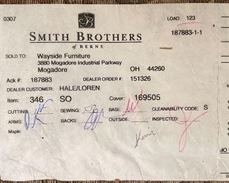 Smith Brothers Sofa35x80x40inHxWxD