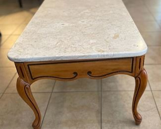 Vintage Marble Top Coffee Table16x42x21inHxWxD