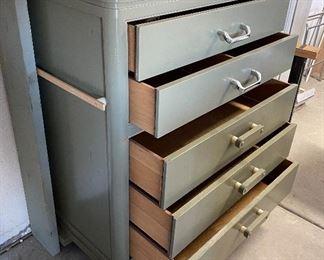 Rolling Wood Garage 5-Drawer Chest46x38x22inHxWxD