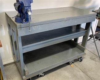 Rolling Wood Workbench with/ Central Forge Vise36x48x22inHxWxD