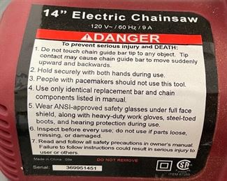 """Chicago 14"""" Electric Chainsaw"""
