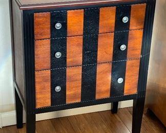 Striped Wood 3 Drawer Chest32x25x14inHxWxD