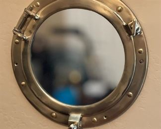 Brass porthole mirror11in Diameter