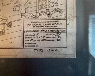 National Lamp Works Blueprint Framed Print15.5x17.5inHxWxD
