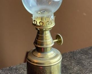 """Vintage Brass Oil Lamp Pigeon Lampe """"Olympe"""" With Glass Globe"""