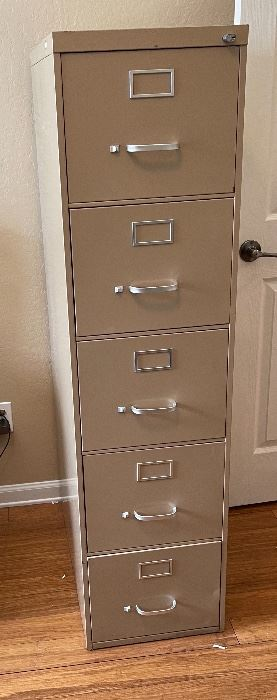 SteelCase Slender 5-Drawer File Cabinet59x15x30inHxWxD