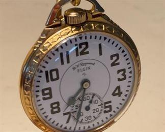 Elgin 571 Railroad Pocket Watch 10K Gold Fill