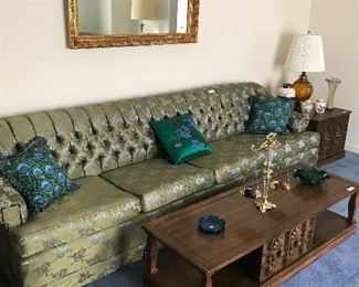 Extra Long Sofa, Gold Mirror