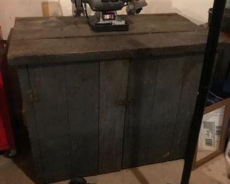 Primitive Tool Cabinet, Floor Jack, Bench Grinder