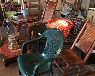 Antique Rockers, Ladders ,Misc. Garage Items
