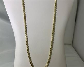 14KT Gold Plated 24in Rope Necklace
