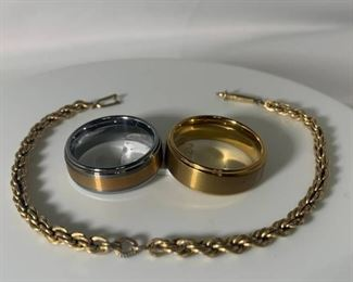 Heavy Gold Plated Tungsten Band 2 Tone Tungsten Band and Gold Plated Bracelet