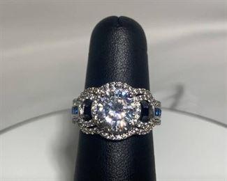 Rhodium Plated Sapphire and CZ Wedding Set