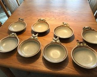 Signed studio pottery set of animal bowls -- a different animal on each. $15 per bowl