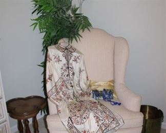 ACCENT TABLE, FAUX TREE, WINGBACK CHAIR