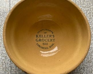 "$150.00...............6 1/2"" diameter Keller's Grocery Lanesboro MN advertising Red Wing Spongeware (P297)"