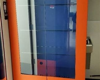 Orange Display Cabinet- No Keys