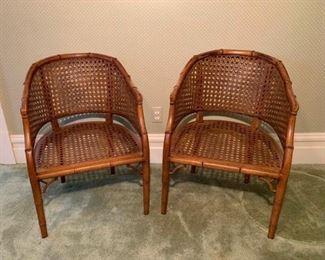 Vintage Barrel Cane Chairs
