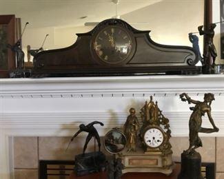 Mantle clock with bronze feet