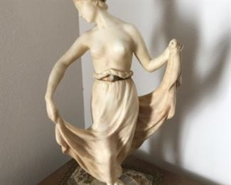 """Alabaster woman statue with Opal """"jewel"""" in belt"""