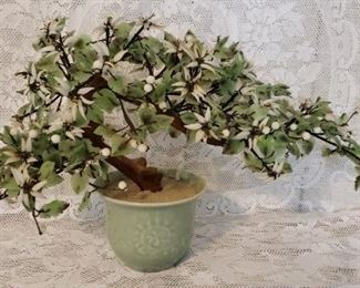 Vintage Asian Glass Bonsai Tree