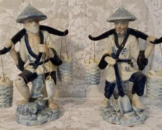 Lot of 2 Porcelain Asian Fishermen