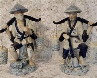 Lot of 2 Porcelain Asian Fishermen