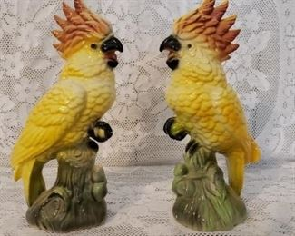 Pair Vintage Ceramic Painted Parrot