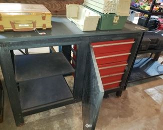 Workbench with built-in toolbox