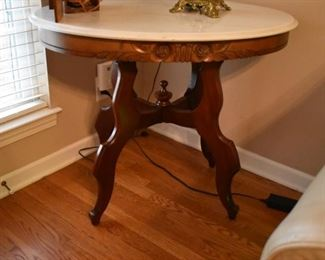 Beautiful Antique Marble Top Table with Nicely Carved base