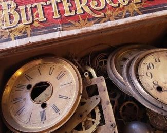 old clock parts, antique wood