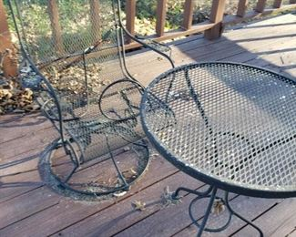 iron lawn chair and table