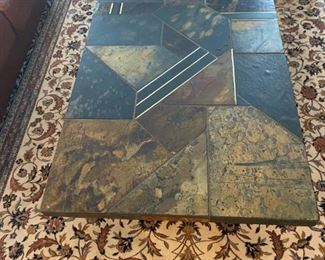 Stone Top and Metal Base Coffee Table $250