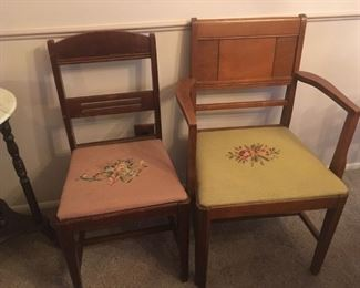 . . . two needlepoint chairs