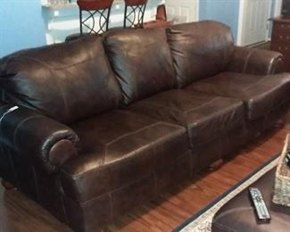 Full Size Leather Sofa by Ashley - Coffee Color