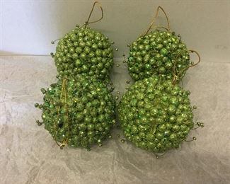 $16.00 - Green Berry Balls/Ornaments (set of 4)