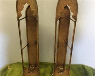 $36.00 - Pair of  Metal Church Window Candle  Holders