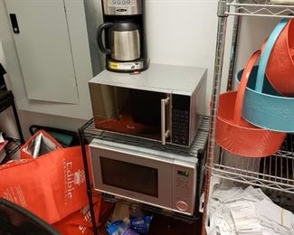 2 microwaves and coffee brewer