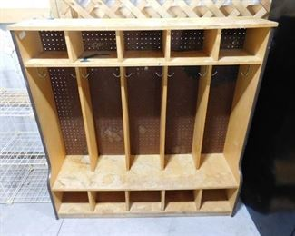 5 section wood coat and backpack storage- great project (can be used in a school or daycare setting) 48in H X 48 in W X 11 6/16in D