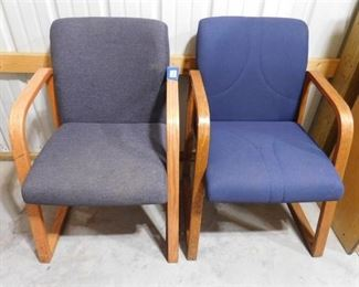 2 navy blue office chairs