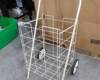 Wheeled shopping utility cart- white