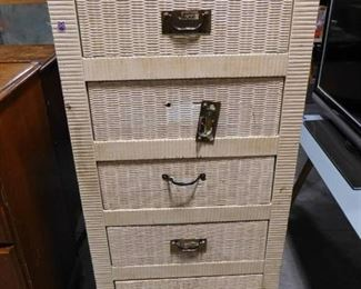 6 drawer white wicker style chest of drawers 56 1/2in H X 24 1/2in W X 18in D (needs new handles and drawer guide)