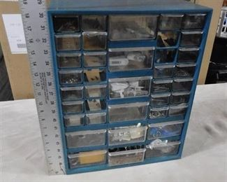 Blue storage container with multiple drawers that have misc. screws, nails, washers 18in H X 14 3/4in W X 6 1/2in D