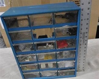 Blue storage container with multiple drawers that have misc. hardware 18 1/4in H X 14 5/16in W X 6 14in D