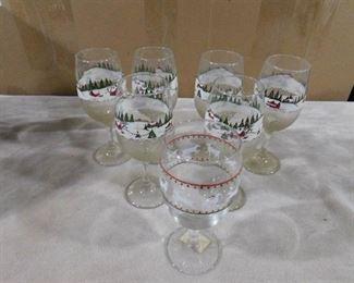 7 Christmas wine glasses