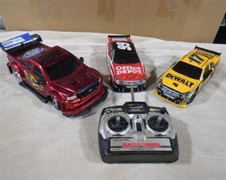 3 collectible race car memorabilia w/ unknown remote