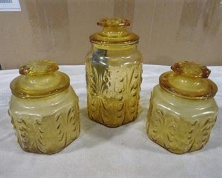 Set of 3 1960s amber glass canisters