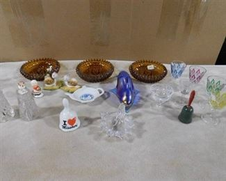 lot of misc. glassware- includes hand bells, ashtrays, shot glasses and glass figurines